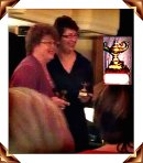 Quick shot of Charlaine Harris & Dana Cameron with their Anthony statues.