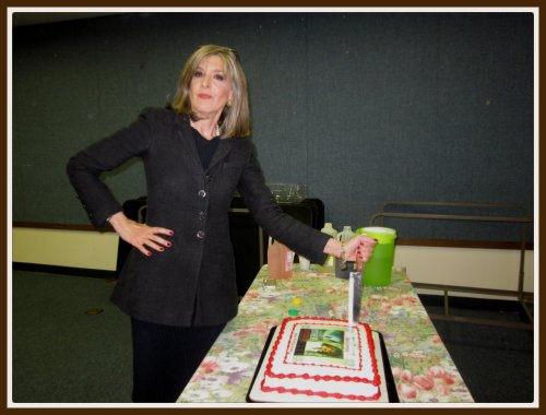 "In which Hank not only ""Stakes the Cake"" (a MAF photo op fave) - she takes it too! Veddy well done."
