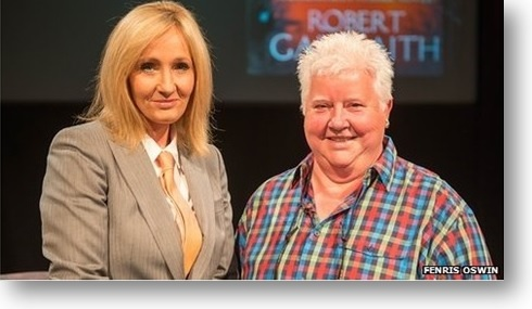 J.K. Rowling Dressed as Robert Galbraith with Mystery Grandmaster, Val McDermid in Harrogate