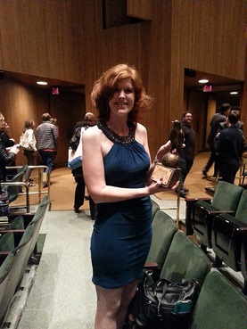 Joelle Charbonneau with Anthony Award for Best Children's/YA mystery