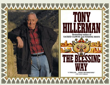 Author Hillerman with Blessing Way cover