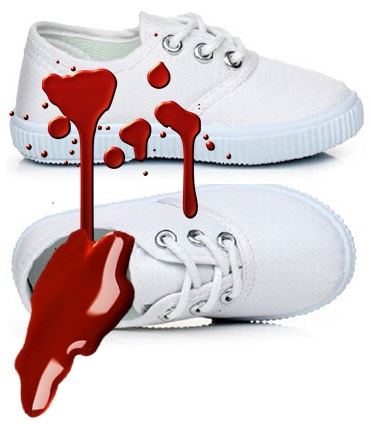 bloody sneakers from In The Woods