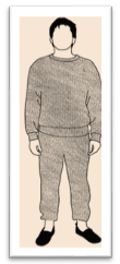 The man in the track suit graphic