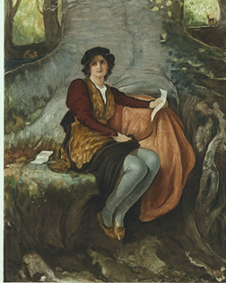 Shakespeare's Rosalind sitting under tree graphic