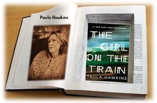 Paula Hawkins with The Girl on the Train graphic