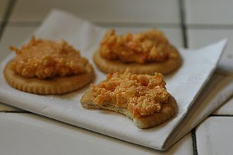 Pimento cheese on crackers graphic