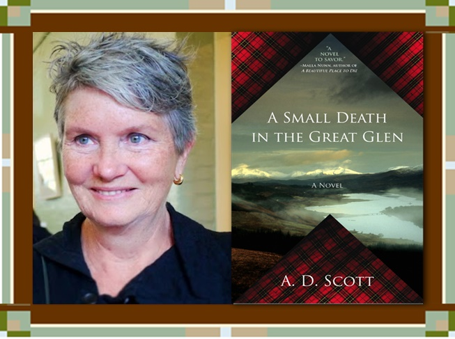 Author A.D. Scott with Small Death Book Cover graphic