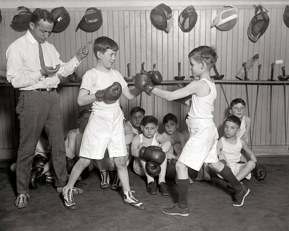 1930s Scottish boys boxing club graphic