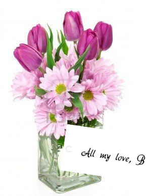 "Flowers with ""B"" card graphic"