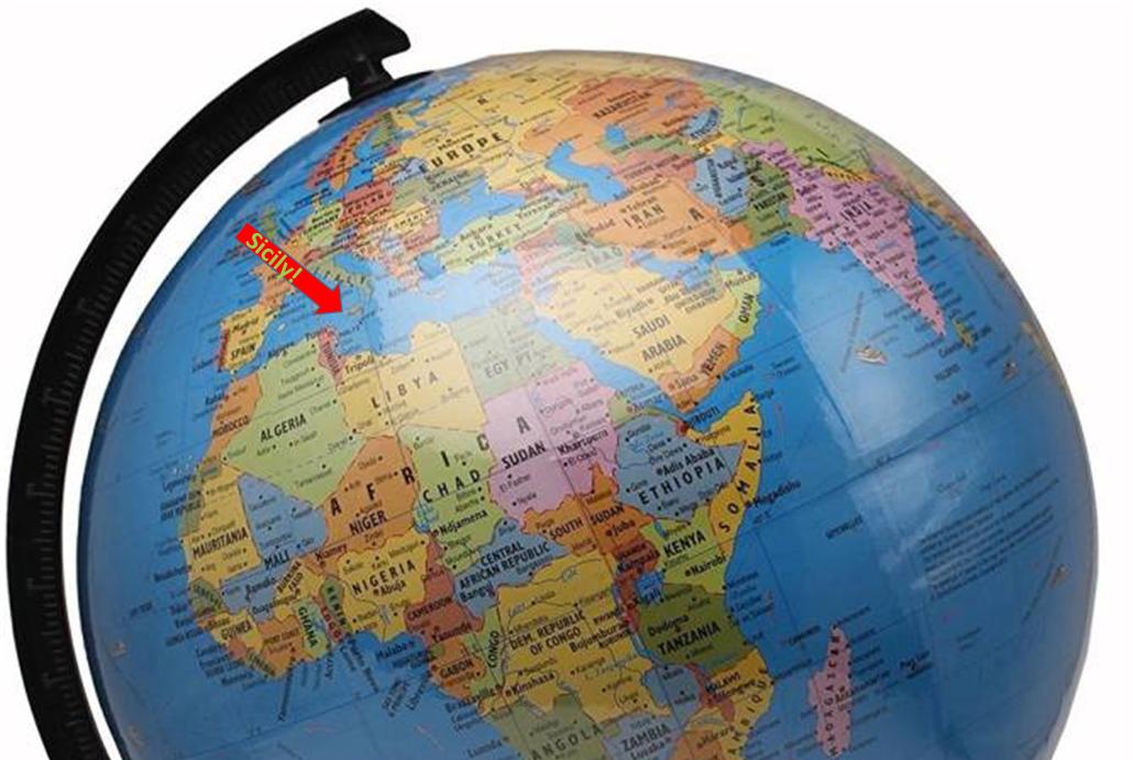 Globe showing Sicily